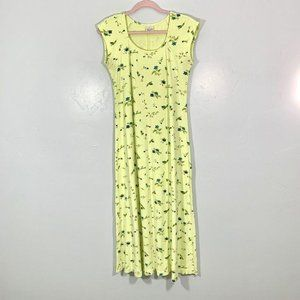Vintage 90's Green Floral Short Sleeve Scoop Neck
